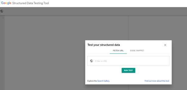 screenshot of Google's structured data testing tool