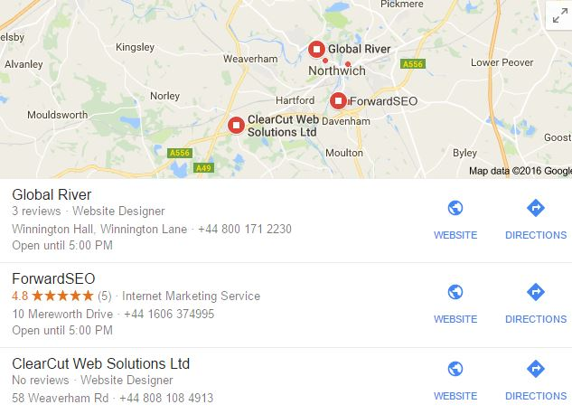 seo Cheshire example listing