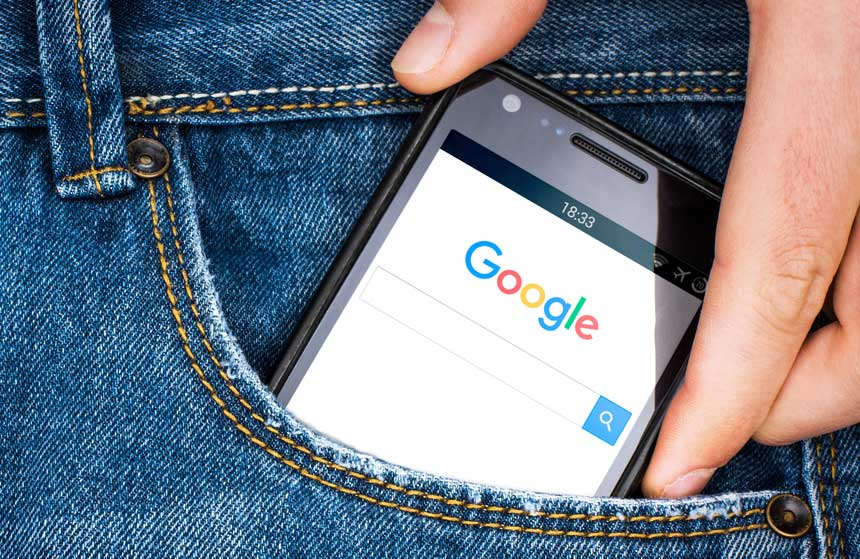 image of mobile phone being used to Google something